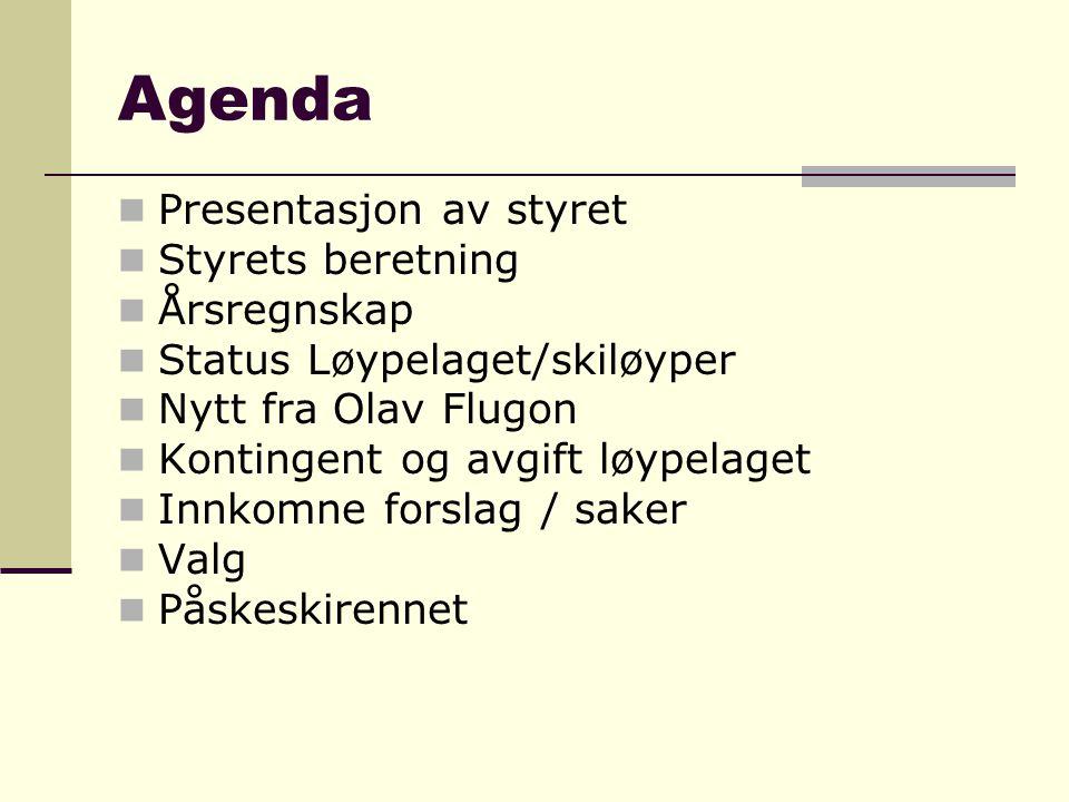 Agenda  Presentasjon av styret  Styrets beretning  Årsregnskap  Status Løypelaget/skiløyper  Nytt fra Olav Flugon  Kontingent og avgift løypelag