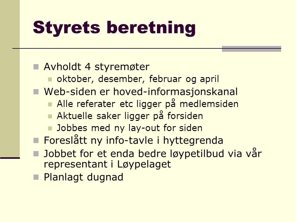 Styrets beretning  Avholdt 4 styremøter  oktober, desember, februar og april  Web-siden er hoved-informasjonskanal  Alle referater etc ligger på m