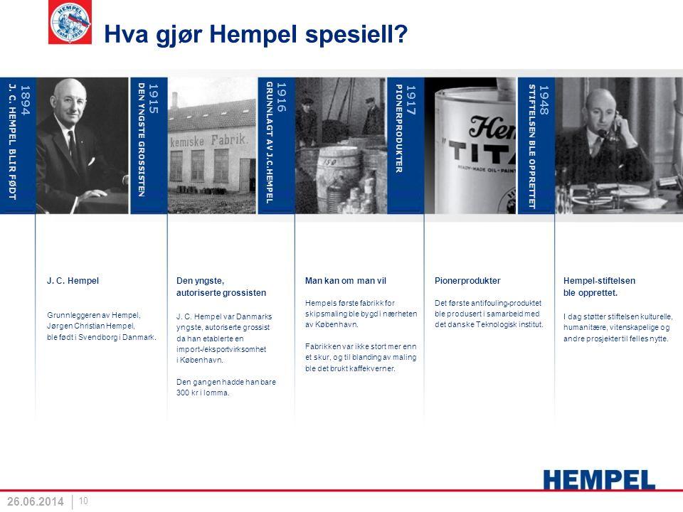 26.06.2014 10 Hva gjør Hempel spesiell? J. C. Hempel Grunnleggeren av Hempel, Jørgen Christian Hempel, ble født i Svendborg i Danmark. Den yngste, aut