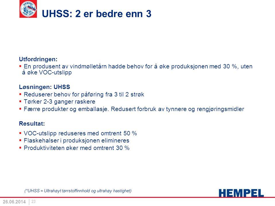 UHSS: 2 er bedre enn 3 Utfordringen:  En produsent av vindmølletårn hadde behov for å øke produksjonen med 30 %, uten å øke VOC-utslipp Løsningen: UH