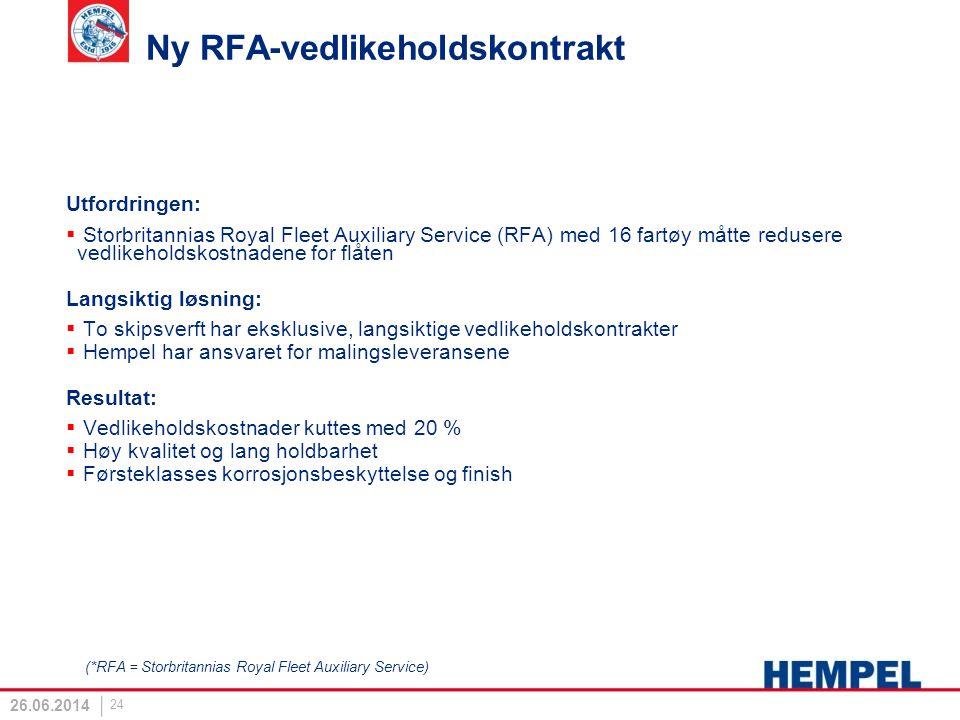 Ny RFA-vedlikeholdskontrakt Utfordringen:  Storbritannias Royal Fleet Auxiliary Service (RFA) med 16 fartøy måtte redusere vedlikeholdskostnadene for