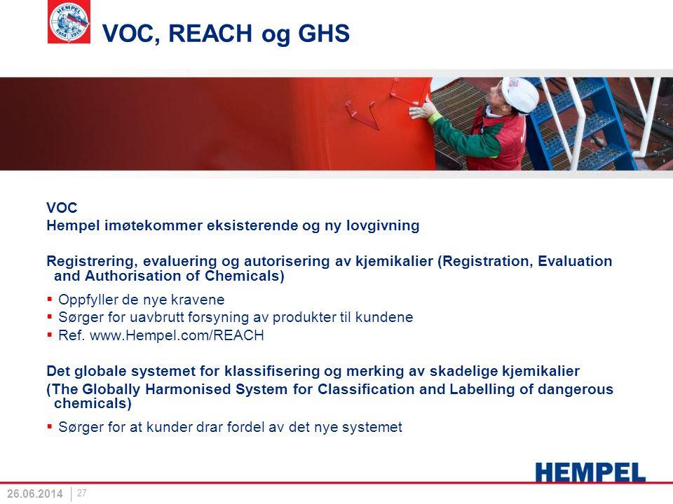 VOC, REACH og GHS VOC Hempel imøtekommer eksisterende og ny lovgivning Registrering, evaluering og autorisering av kjemikalier (Registration, Evaluati