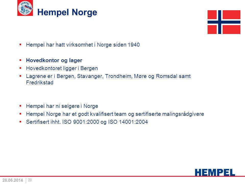 Hempel Norge  Hempel har hatt virksomhet i Norge siden 1940  Hovedkontor og lager  Hovedkontoret ligger i Bergen  Lagrene er i Bergen, Stavanger,