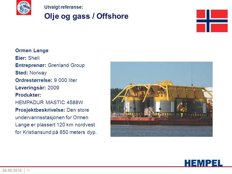 Olje og gass / Offshore Ormen Lange Eier: Shell Entreprenør: Grenland Group Sted: Norway Ordrestørrelse: 9 000 liter Leveringsår: 2009 Produkter: HEMP