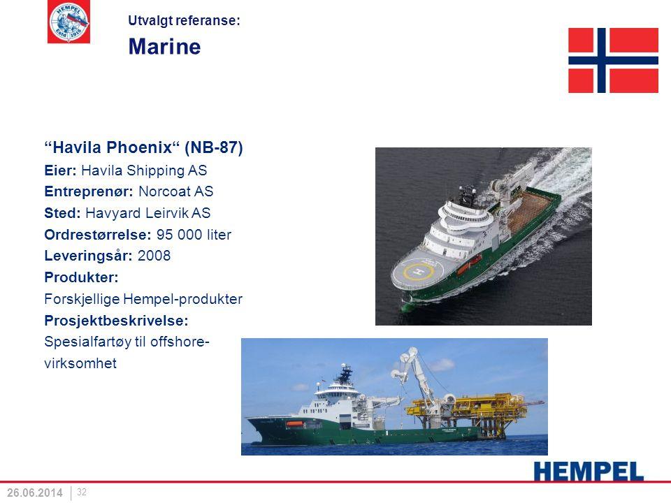 """Marine """"Havila Phoenix"""" (NB-87) Eier: Havila Shipping AS Entreprenør: Norcoat AS Sted: Havyard Leirvik AS Ordrestørrelse: 95 000 liter Leveringsår: 20"""