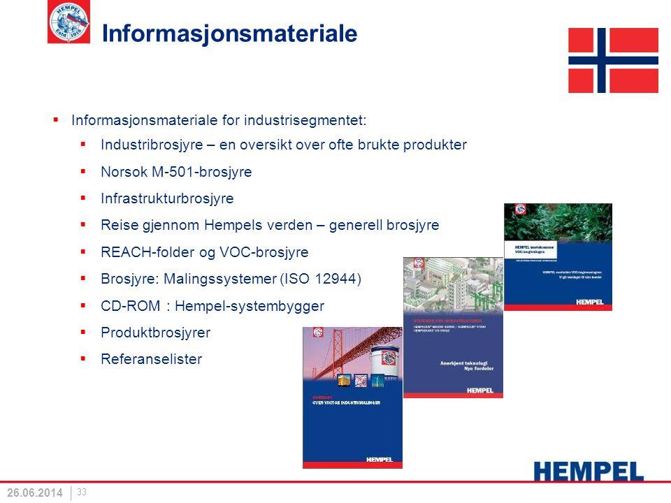 Informasjonsmateriale  Informasjonsmateriale for industrisegmentet:  Industribrosjyre – en oversikt over ofte brukte produkter  Norsok M-501-brosjy
