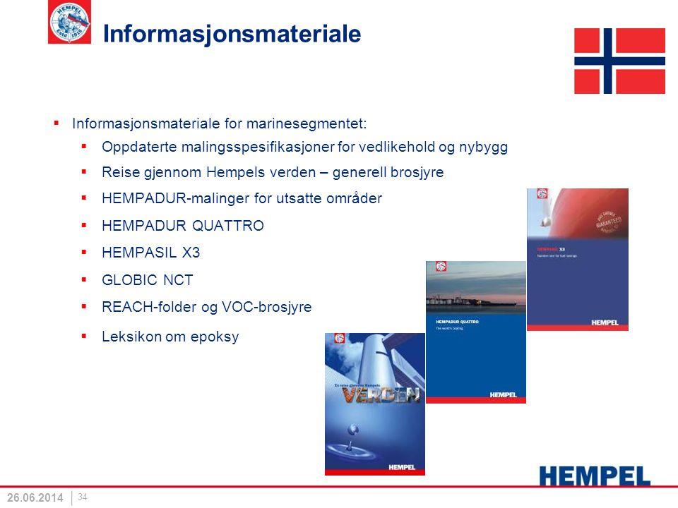 Informasjonsmateriale  Informasjonsmateriale for marinesegmentet:  Oppdaterte malingsspesifikasjoner for vedlikehold og nybygg  Reise gjennom Hempe