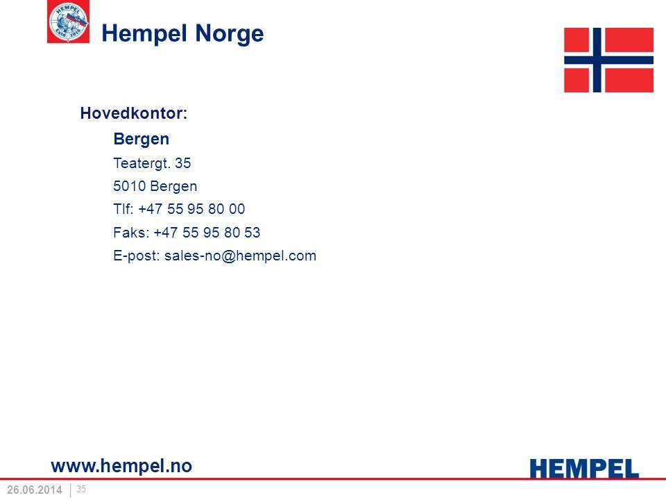 Hempel Norge www.hempel.no Hovedkontor: Bergen Teatergt. 35 5010 Bergen Tlf: +47 55 95 80 00 Faks: +47 55 95 80 53 E-post: sales-no@hempel.com 26.06.2