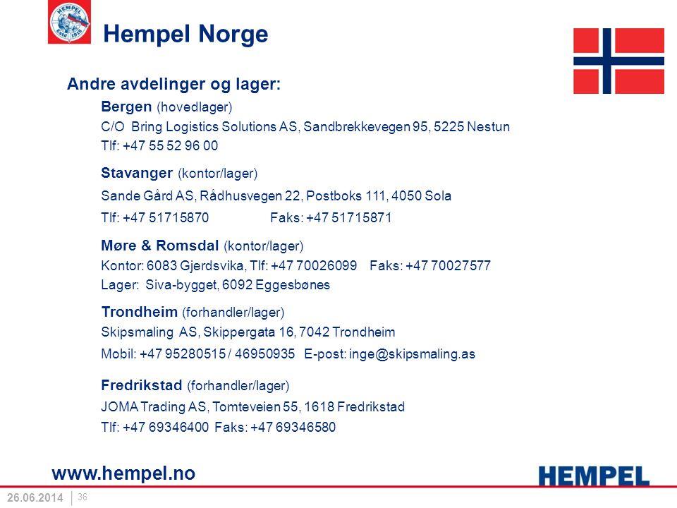 Hempel Norge Andre avdelinger og lager: Bergen (hovedlager) C/O Bring Logistics Solutions AS, Sandbrekkevegen 95, 5225 Nestun Tlf: +47 55 52 96 00 Sta