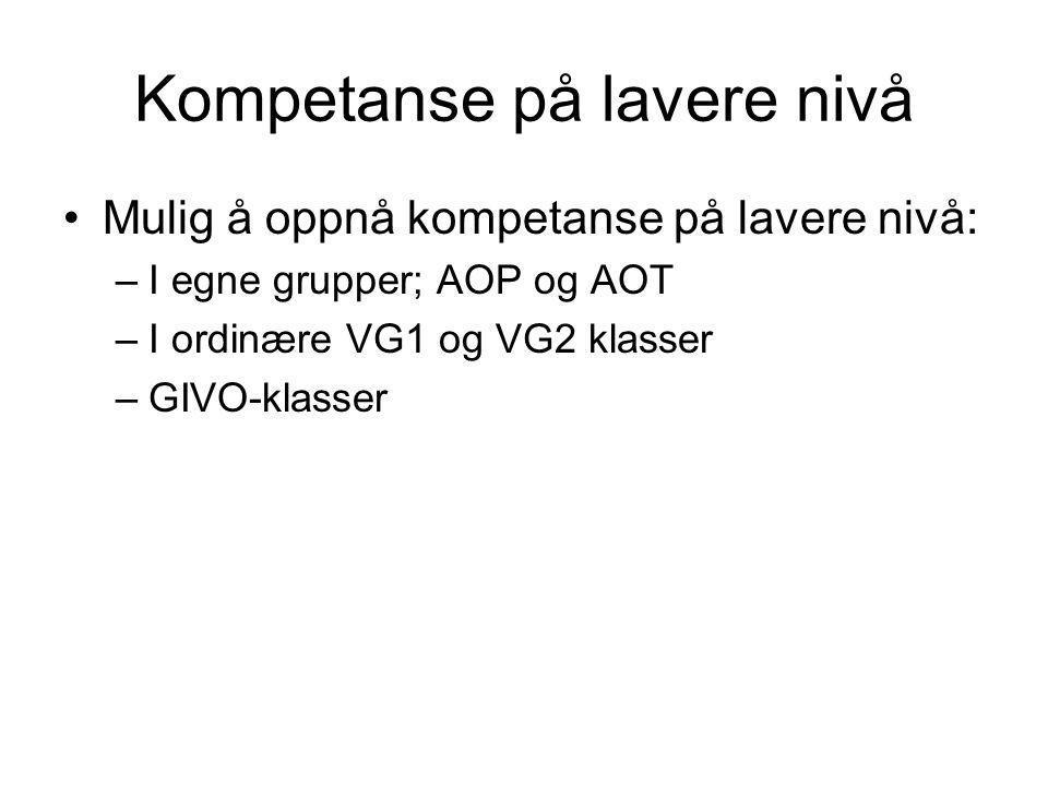 Kompetanse på lavere nivå •Mulig å oppnå kompetanse på lavere nivå: –I egne grupper; AOP og AOT –I ordinære VG1 og VG2 klasser –GIVO-klasser