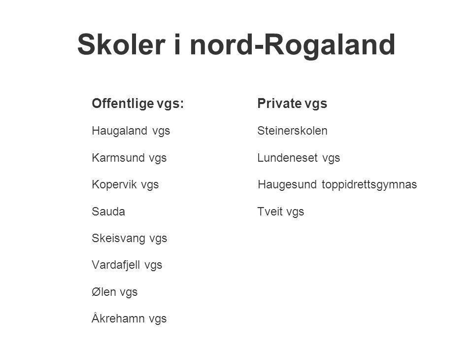 Skoler i nord-Rogaland Offentlige vgs:Private vgs Haugaland vgsSteinerskolen Karmsund vgsLundeneset vgs Kopervik vgs Haugesund toppidrettsgymnas Sauda