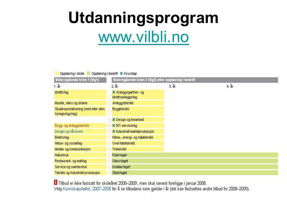 Utdanningsprogram www.vilbli.no www.vilbli.no
