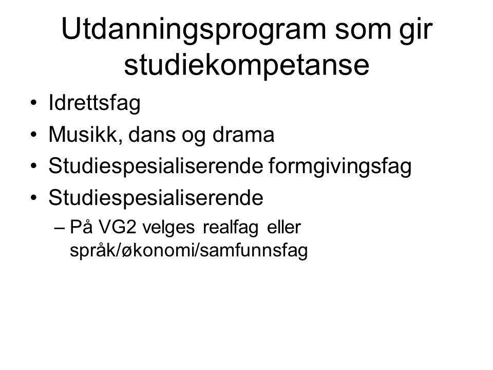 Utdanningsprogram som gir studiekompetanse •Idrettsfag •Musikk, dans og drama •Studiespesialiserende formgivingsfag •Studiespesialiserende –På VG2 vel