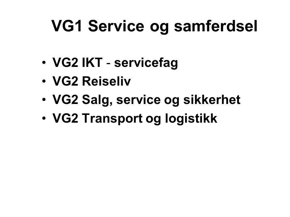 VG1 Service og samferdsel •VG2 IKT - servicefag •VG2 Reiseliv •VG2 Salg, service og sikkerhet •VG2 Transport og logistikk