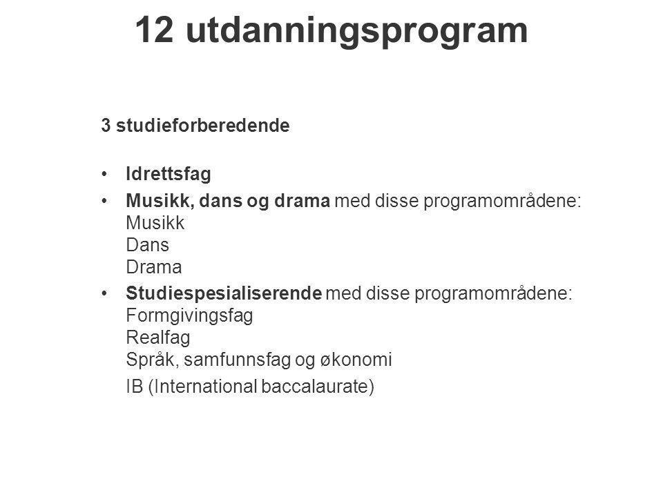 12 utdanningsprogram 3 studieforberedende •Idrettsfag •Musikk, dans og drama med disse programområdene: Musikk Dans Drama •Studiespesialiserende med d
