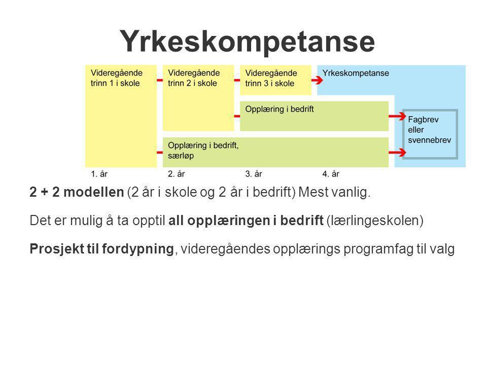 Yrkeskompetanse 2 + 2 modellen (2 år i skole og 2 år i bedrift) Mest vanlig. Det er mulig å ta opptil all opplæringen i bedrift (lærlingeskolen) Prosj