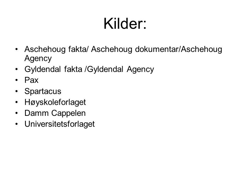 Kilder: •Aschehoug fakta/ Aschehoug dokumentar/Aschehoug Agency •Gyldendal fakta /Gyldendal Agency •Pax •Spartacus •Høyskoleforlaget •Damm Cappelen •U