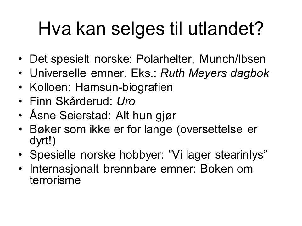Hva kan selges til utlandet? •Det spesielt norske: Polarhelter, Munch/Ibsen •Universelle emner. Eks.: Ruth Meyers dagbok •Kolloen: Hamsun-biografien •