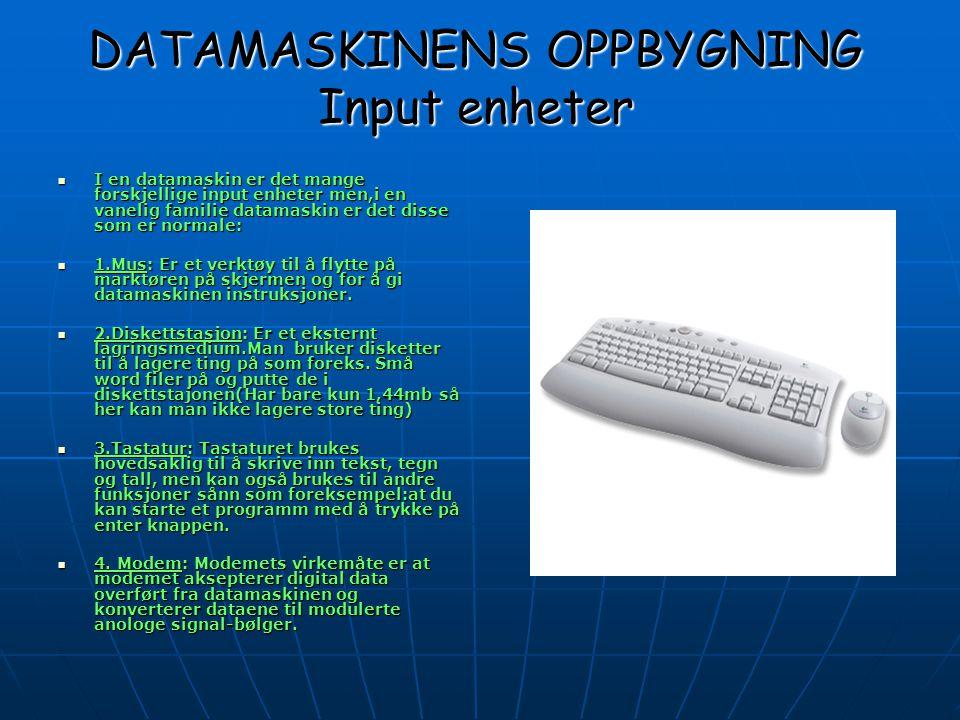 DATAMASKINENS OPPBYGNING Output enheter  De mest vanelige output enhetene er:  1.PC-skjermen:I en pc skjerm er det kabelen som spiller en stor rolle den har 15 stifter.