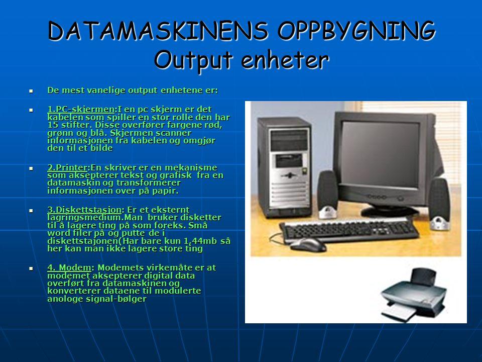 DATAMASKINENS OPPBYGNING Det indre i en datamaskin  I en datamaskin er det mange forskjellige deler,men de er såpass små og det finnes så mange av dem at vi har kun tatt med noe av det viktigste som finnes inni en datamaskin:  RAM(Random access memory):Ram er en midlertidig lagringsenhet i datamaskinen,hvor data,programmer og dokumenter ligger lageret så lenge strømmen er på.*RAM får også datamaskinen til å jobbe raskere.Dette gjør at man kan få fortere tilgang til ønsket infomarsjon.