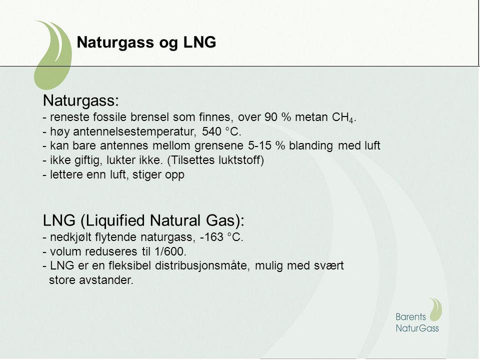 Naturgass og LNG Naturgass: - reneste fossile brensel som finnes, over 90 % metan CH 4. - høy antennelsestemperatur, 540 °C. - kan bare antennes mello