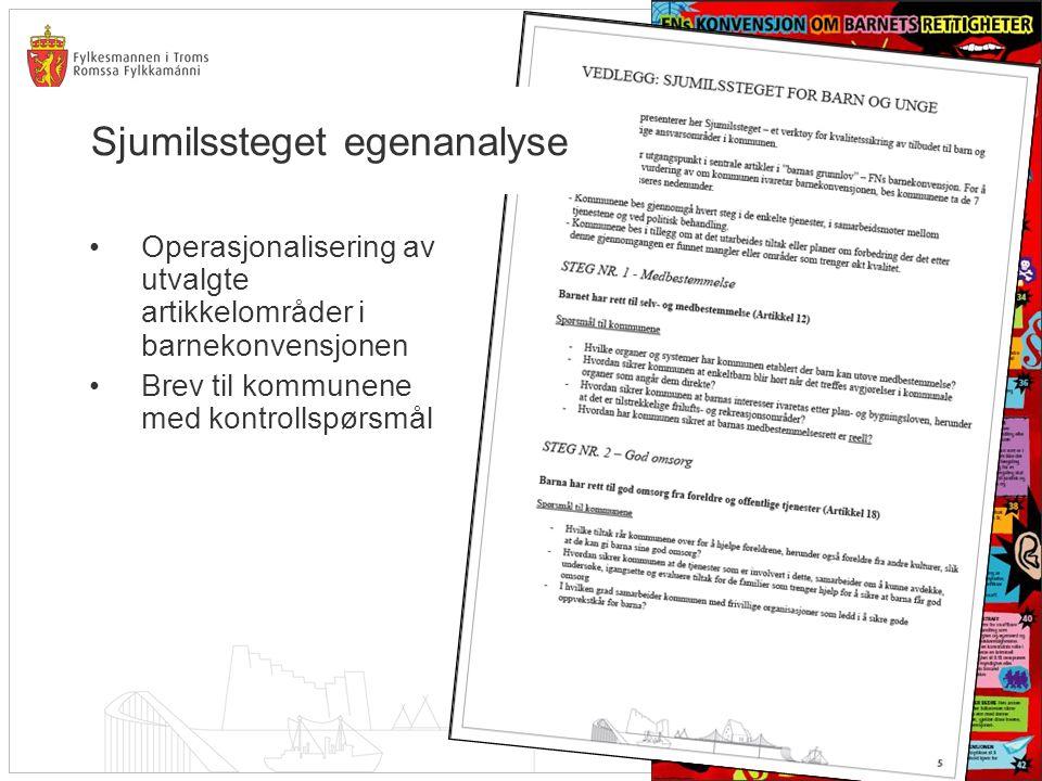 Sjumilssteget egenanalyse •Operasjonalisering av utvalgte artikkelområder i barnekonvensjonen •Brev til kommunene med kontrollspørsmål