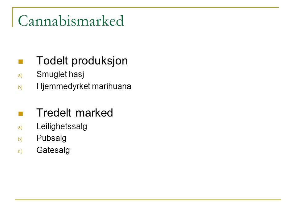 Cannabismarked  Todelt produksjon a) Smuglet hasj b) Hjemmedyrket marihuana  Tredelt marked a) Leilighetssalg b) Pubsalg c) Gatesalg