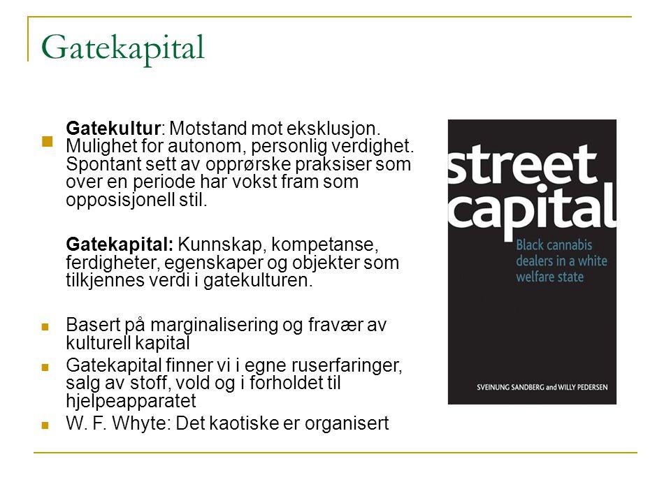 Gatekapital  Gatekultur: Motstand mot eksklusjon. Mulighet for autonom, personlig verdighet. Spontant sett av opprørske praksiser som over en periode