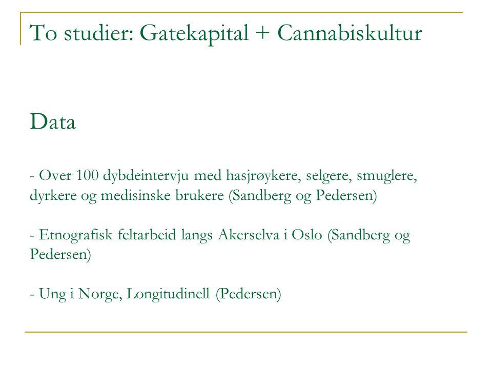 To studier: Gatekapital + Cannabiskultur Data - Over 100 dybdeintervju med hasjrøykere, selgere, smuglere, dyrkere og medisinske brukere (Sandberg og