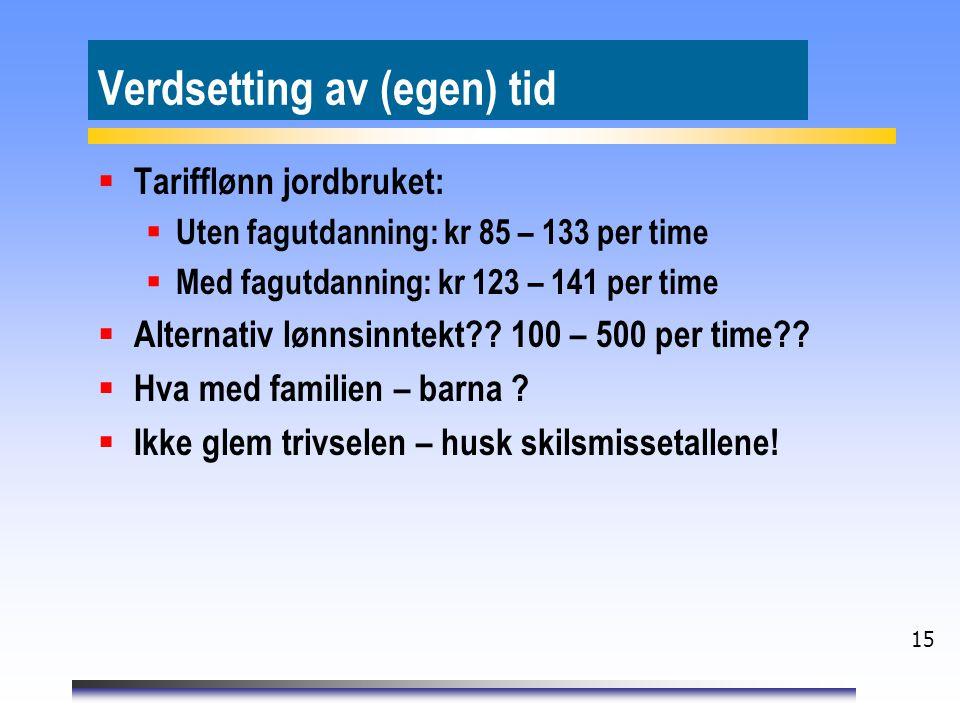15 Verdsetting av (egen) tid  Tarifflønn jordbruket:  Uten fagutdanning: kr 85 – 133 per time  Med fagutdanning: kr 123 – 141 per time  Alternativ