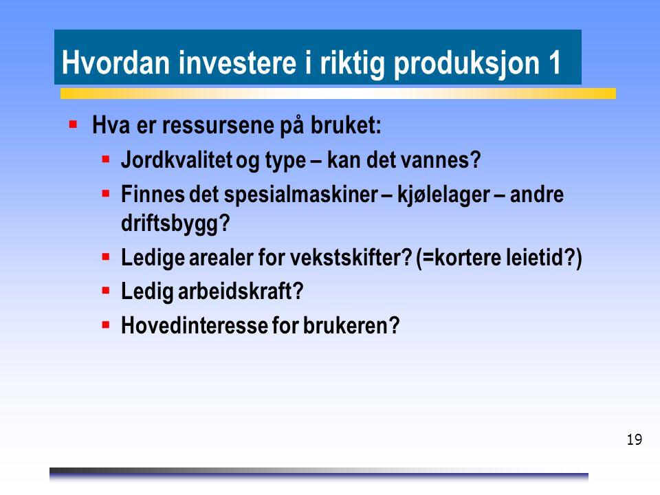 19 Hvordan investere i riktig produksjon 1  Hva er ressursene på bruket:  Jordkvalitet og type – kan det vannes?  Finnes det spesialmaskiner – kjøl