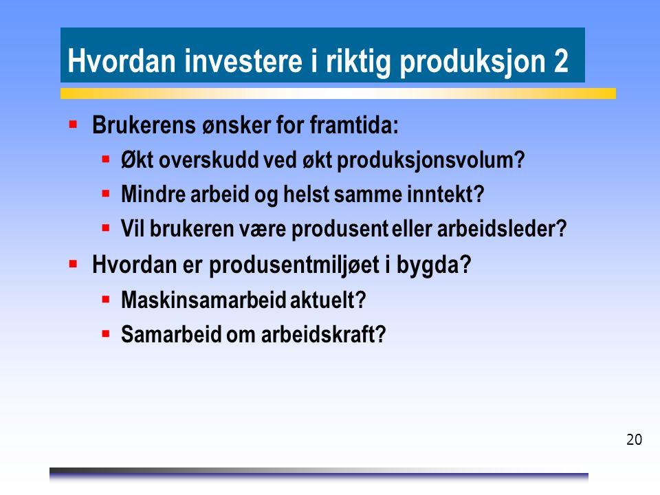 20 Hvordan investere i riktig produksjon 2  Brukerens ønsker for framtida:  Økt overskudd ved økt produksjonsvolum?  Mindre arbeid og helst samme i
