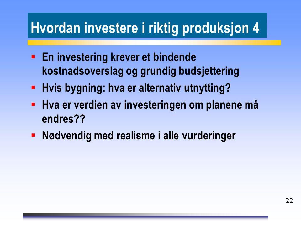 22 Hvordan investere i riktig produksjon 4  En investering krever et bindende kostnadsoverslag og grundig budsjettering  Hvis bygning: hva er alternativ utnytting.