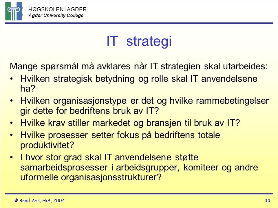HØGSKOLEN I AGDER Agder University College © Bodil Ask, HiA, 200411 IT strategi Mange spørsmål må avklares når IT strategien skal utarbeides: •Hvilken