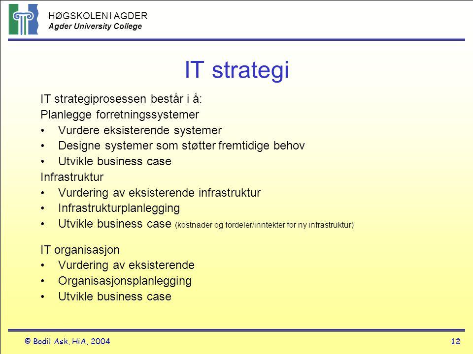 HØGSKOLEN I AGDER Agder University College © Bodil Ask, HiA, 200412 IT strategi IT strategiprosessen består i å: Planlegge forretningssystemer •Vurder