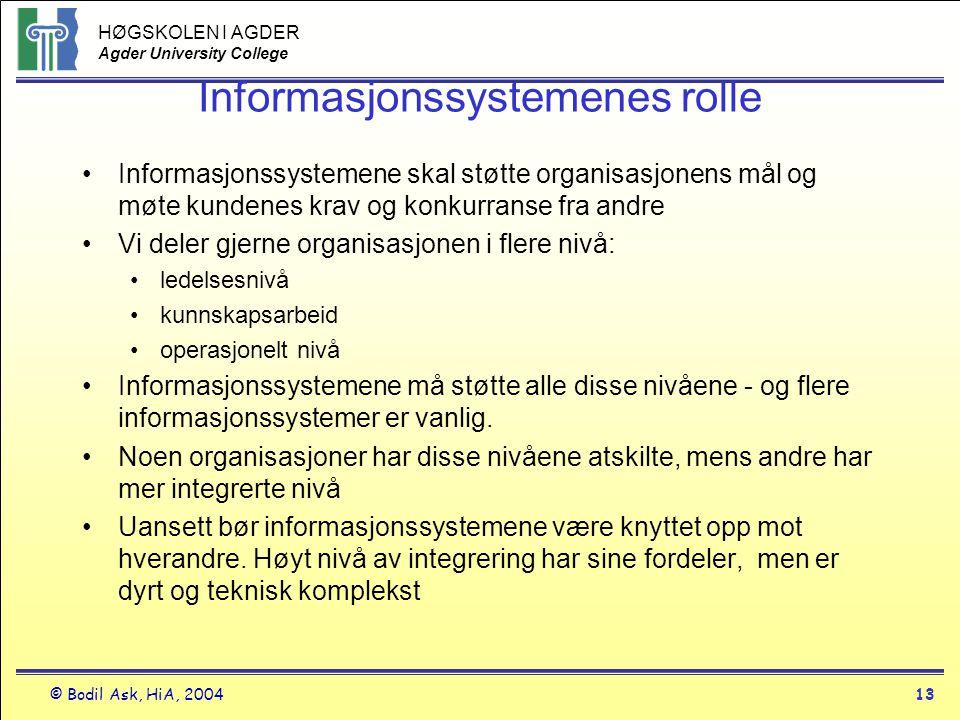 HØGSKOLEN I AGDER Agder University College © Bodil Ask, HiA, 200413 Informasjonssystemenes rolle •Informasjonssystemene skal støtte organisasjonens må