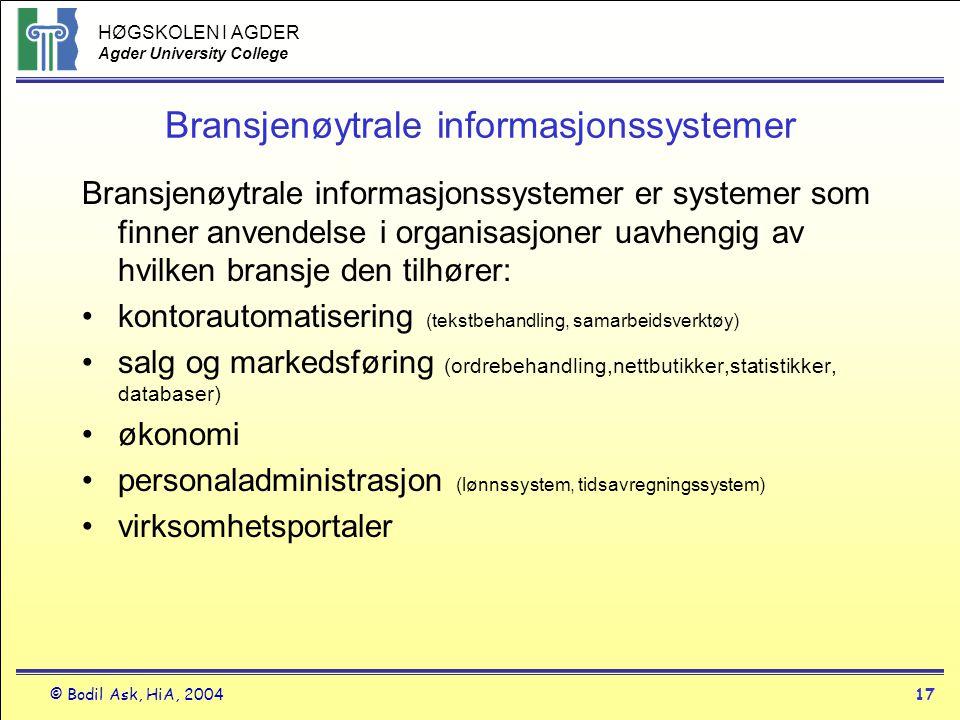 HØGSKOLEN I AGDER Agder University College © Bodil Ask, HiA, 200417 Bransjenøytrale informasjonssystemer Bransjenøytrale informasjonssystemer er syste