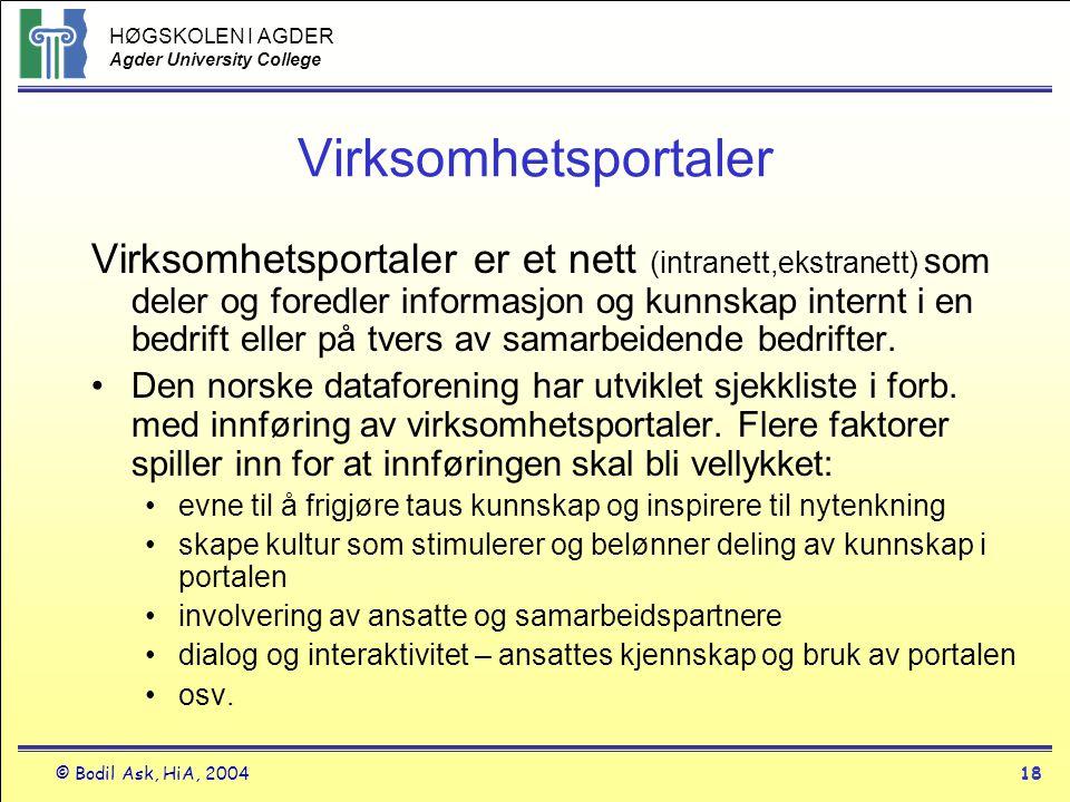 HØGSKOLEN I AGDER Agder University College © Bodil Ask, HiA, 200418 Virksomhetsportaler Virksomhetsportaler er et nett (intranett,ekstranett) som dele