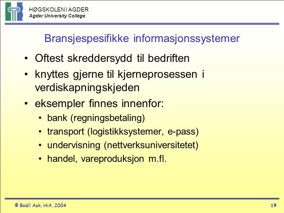 HØGSKOLEN I AGDER Agder University College © Bodil Ask, HiA, 200419 Bransjespesifikke informasjonssystemer •Oftest skreddersydd til bedriften •knyttes
