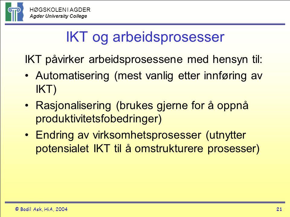 HØGSKOLEN I AGDER Agder University College © Bodil Ask, HiA, 200421 IKT og arbeidsprosesser IKT påvirker arbeidsprosessene med hensyn til: •Automatise