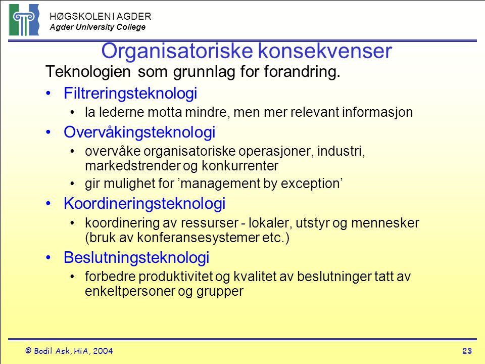 HØGSKOLEN I AGDER Agder University College © Bodil Ask, HiA, 200423 Organisatoriske konsekvenser Teknologien som grunnlag for forandring. •Filtrerings