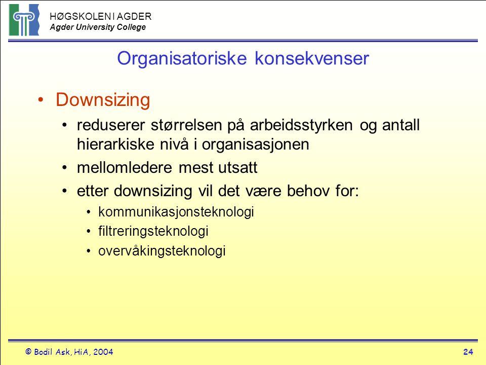 HØGSKOLEN I AGDER Agder University College © Bodil Ask, HiA, 200424 Organisatoriske konsekvenser •Downsizing •reduserer størrelsen på arbeidsstyrken o