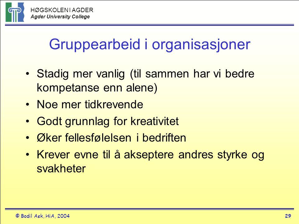 HØGSKOLEN I AGDER Agder University College © Bodil Ask, HiA, 200429 Gruppearbeid i organisasjoner •Stadig mer vanlig (til sammen har vi bedre kompetan
