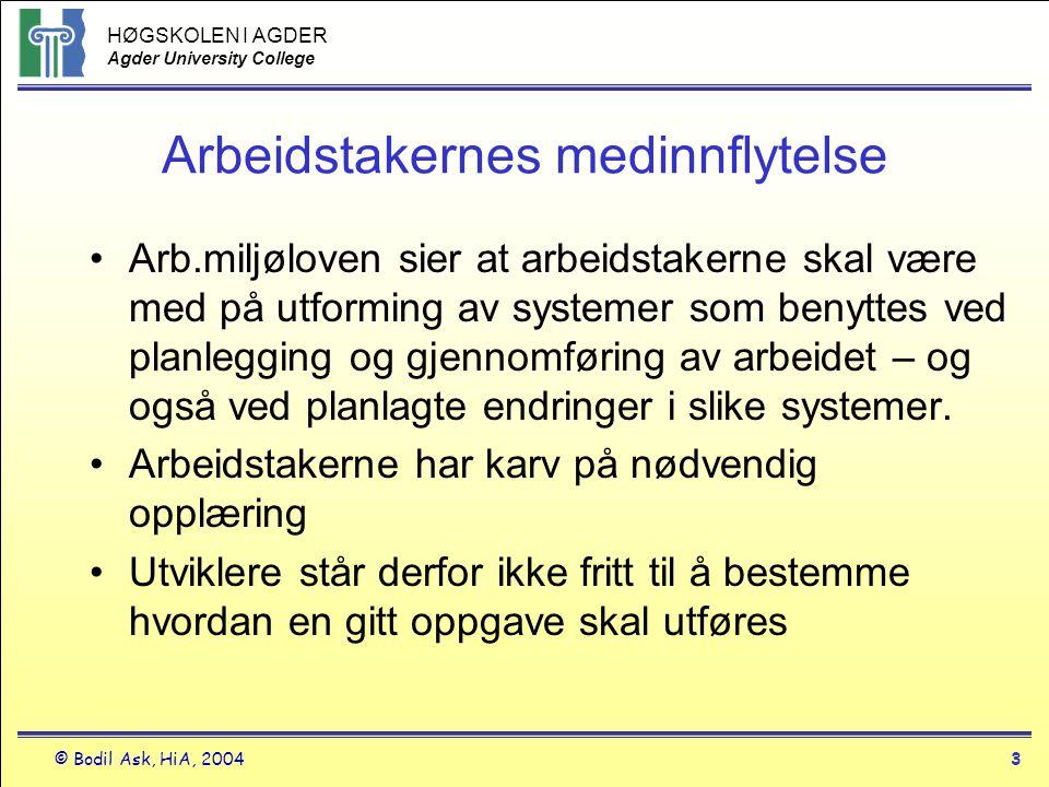 HØGSKOLEN I AGDER Agder University College © Bodil Ask, HiA, 20043 Arbeidstakernes medinnflytelse •Arb.miljøloven sier at arbeidstakerne skal være med