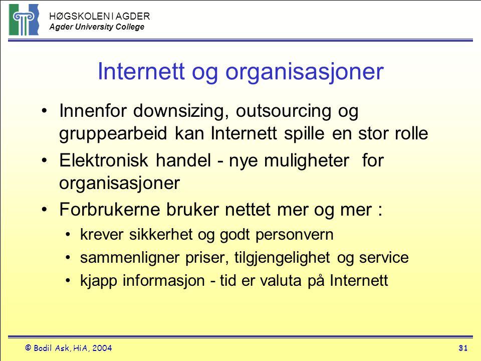 HØGSKOLEN I AGDER Agder University College © Bodil Ask, HiA, 200431 Internett og organisasjoner •Innenfor downsizing, outsourcing og gruppearbeid kan