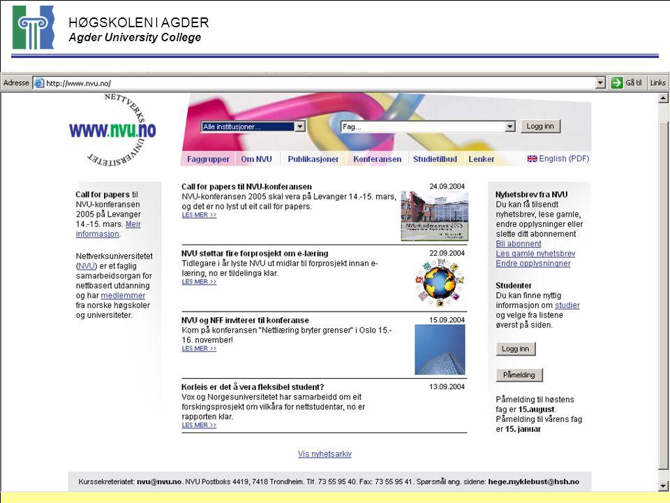 HØGSKOLEN I AGDER Agder University College © Bodil Ask, HiA, 200436