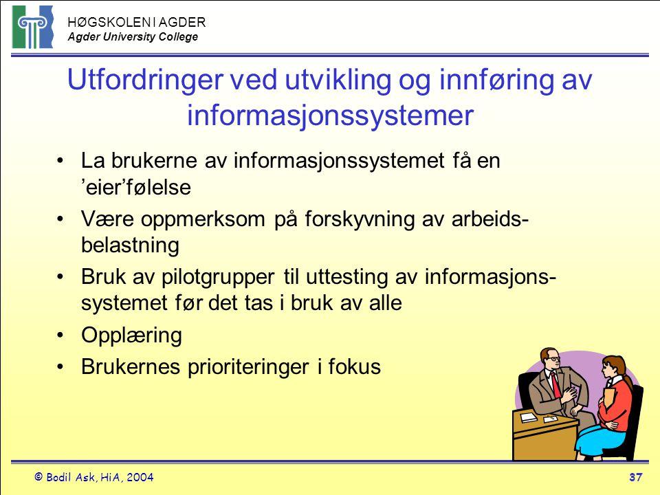 HØGSKOLEN I AGDER Agder University College © Bodil Ask, HiA, 200437 Utfordringer ved utvikling og innføring av informasjonssystemer •La brukerne av in
