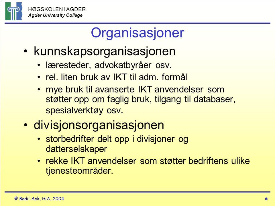 HØGSKOLEN I AGDER Agder University College © Bodil Ask, HiA, 20046 Organisasjoner •kunnskapsorganisasjonen •læresteder, advokatbyråer osv. •rel. liten