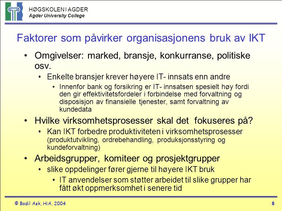 HØGSKOLEN I AGDER Agder University College © Bodil Ask, HiA, 20048 Faktorer som påvirker organisasjonens bruk av IKT •Omgivelser: marked, bransje, kon