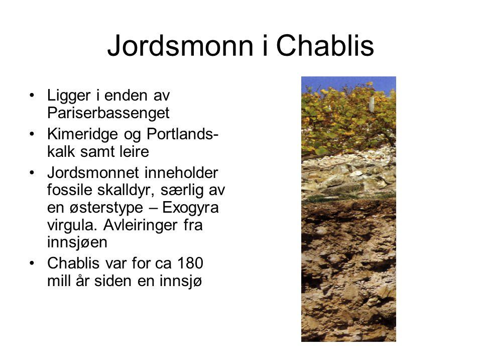 Jordsmonn i Chablis •Ligger i enden av Pariserbassenget •Kimeridge og Portlands- kalk samt leire •Jordsmonnet inneholder fossile skalldyr, særlig av en østerstype – Exogyra virgula.